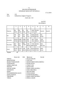 Sayı : 123 Konu : Haftalık Ders Dağıtım Programı 1 2 3 4 5 6 7 8