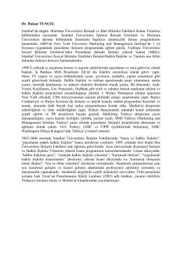 Dr. Hakan Tunçel - Kadir Has Üniversitesi
