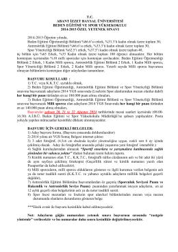 T.C. ABANT İZZET BAYSAL ÜNİVERSİTESİ BEDEN EĞİTİMİ VE