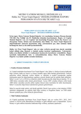 Pergamon Fiyat Tespit Raporuna ilişkin analist raporu