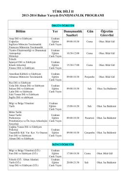 TÜRK DİLİ II 2013-2014 Bahar Yarıyılı DANIŞMANLIK PROGRAMI