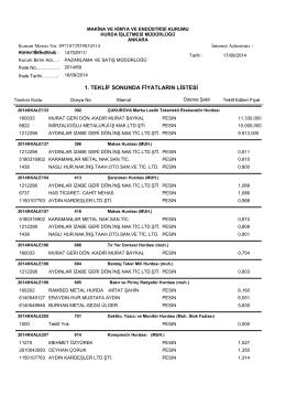 16/09/2014 ihale teklif listesi - Makina ve Kimya Endüstrisi Kurumu