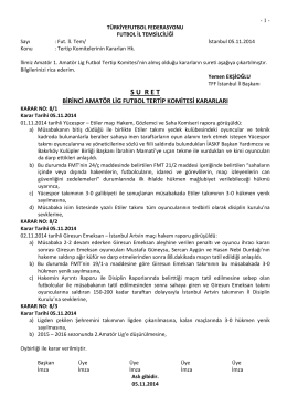 1.amatör lig tertip komitesi kararı