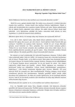 Sosyal Hizmet Uzmanı ile Röportaj (PDF) - Ev