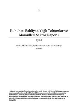 Hububat, Bakliyat, Yağlı Tohumlar ve Mamulleri Sektör Raporu