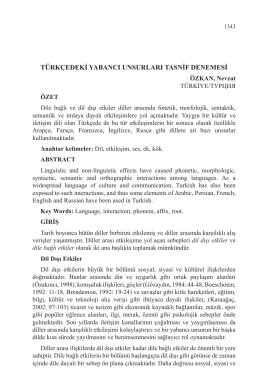türkçedeki yabancı unsurları tasnif denemesi