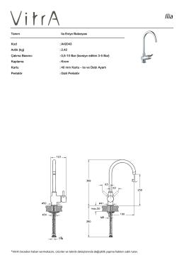 Tanım lia Eviye Bataryası Kod :A42043 Aırlık (kg) :2.42 EPD