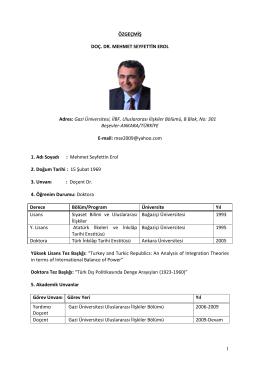 Doç. Dr. Mehmet Seyfettin Erol - Latin Amerika Çalışmaları Araştırma