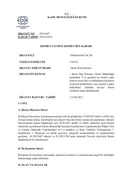 tc kamu denetçiliği kurumu şikayet no :2013/607 karar tarihi