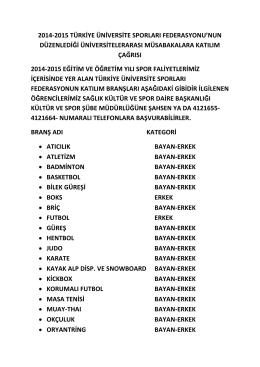 2014-2015 türkiye üniversite sporları federasyon musabakaları