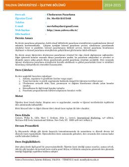 4IO.Uluslararası Pazarlma - Yalova Üniversitesi | İİBF