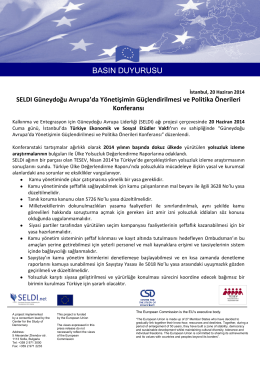 basın duyurusu - Center for the Study of Democracy