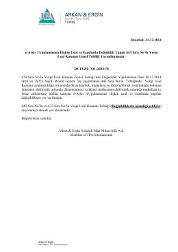 2014-78 e-Arşiv Uygulamasına İlişkin Usul ve