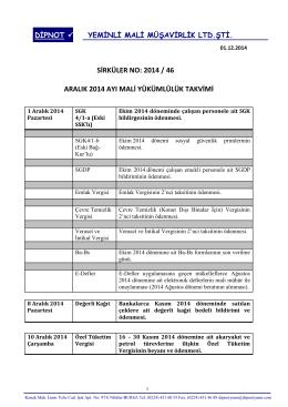 sırk 2014-46 aralık-2014 ayı mali yükümlülük takvimi hk.