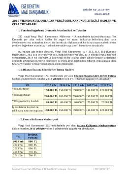 vergi usul kanunu 2015 yılı hadler ve ceza tutarları
