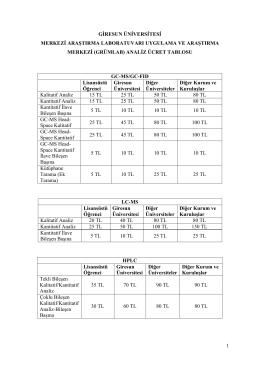 (grümlab) analiz ücret tablosu gc - GRUMLAB