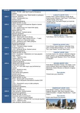 Özbekistan – Kazakistan – Kırgızistan Tur Programı