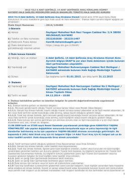 İhale Kayıt Numarası - Kayseri Halk Sağlığı Müdürlüğü
