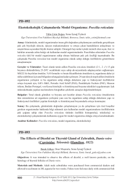Ekotoksikolojik Çalışmalarda Model Organizma: Poecilia reticulata