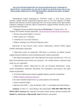 duyuru - Muş Alparslan Üniversitesi