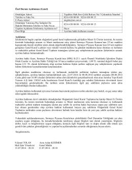 Özel Durum Açıklama Formu 21 Temmuz 2014
