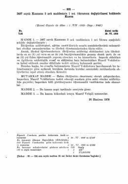 3407 sayılı Kanunun 3 ncü maddesinin 1 nci fıkrasının değiştirilmesi