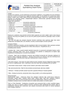 TOTM-OFR-290 Periferik Sinir Ameliyatı Aydınlatılmış Onam Formu