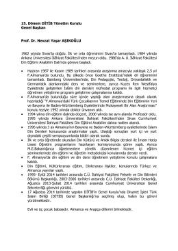 Prof. Dr. Nevzat Yaşar AŞIKOĞLU Özgeçmiş
