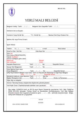 yerli malı belgesi