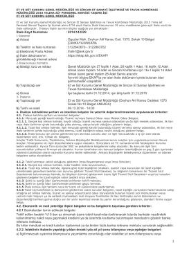 İhale Kayıt Numarası : 2014/143229 a) Adresi