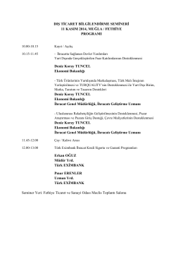 Program - Fethiye Ticaret ve Sanayi Odası