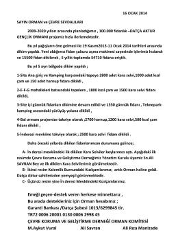 16.01.2014 2014 /1 sayın orman ve çevre sevdalıları