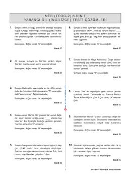 Yabancı Dil (İngilizce) Testi Çözümü