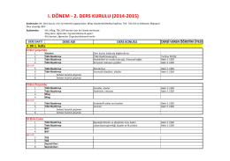 I. DÖNEM -‐ 2. DERS KURULU (2014