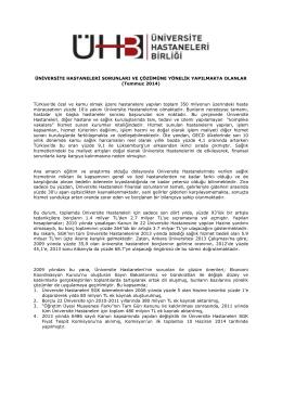 Temmuz 2014 - Üniversite Hastaneleri Birliği