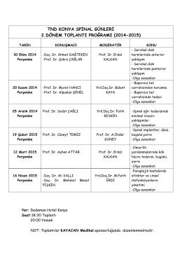 tnd konya spinal günleri 2.dönem toplantı proğramı (2014