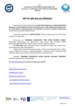 MİTTO-BİR BULUŞ GÖNDER!