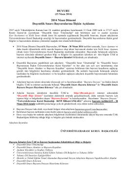 DUYURU 2014 Nisan Dönemi Doçentlik Sınavı Başvurularına