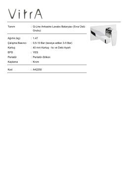 Tanım : Q-Line Ankastre Lavabo Bataryası (Sıva Üstü Grubu