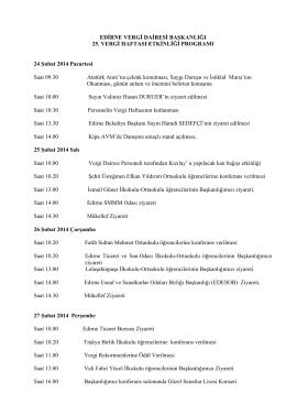 2014 Yılı Edirne Vergi Dairesi Başkanlığı 25. Vergi Haftası Programı