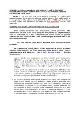 29/06/2013 tarihli Resmi gazetede ilan edilen ANONİM VE LİMİTED