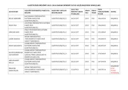 gazetecilik bölümü 2013-‐2014 bahar dönemi yatay geçiş başvuru