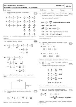6 matematik 2.donem 1.yazili A GRUBU.indd