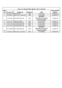 9 adet Araç Muhammen bedel listesi