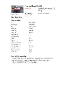 Hyundai Excel 1.5 LS 6.100 TL İlan detayları