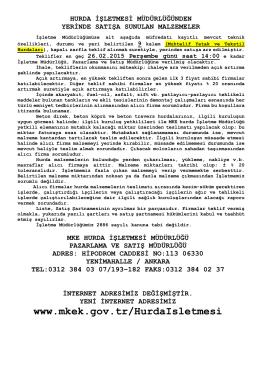 26.02.2015 Tarihli Yerinde Satış Hurda Malzeme Listesi(MUHTELİF