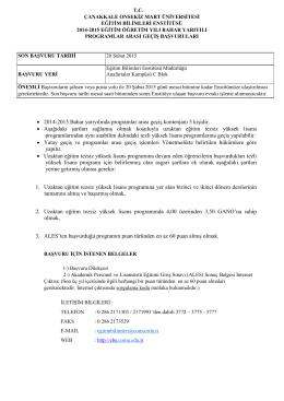 • 2014-2015 Bahar yarıyılında programlar arası geçiş kontenjanı 5