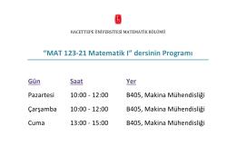 """""""MAT 123-21 Matematik I"""" dersinin Programı"""