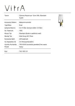 Tanım : Gömme Rezervuar 12cm-3/6L-Standard Ayaklı
