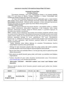 Erzurum Teknik Üniversitesi Öğretim Üyesi Alım İlanı